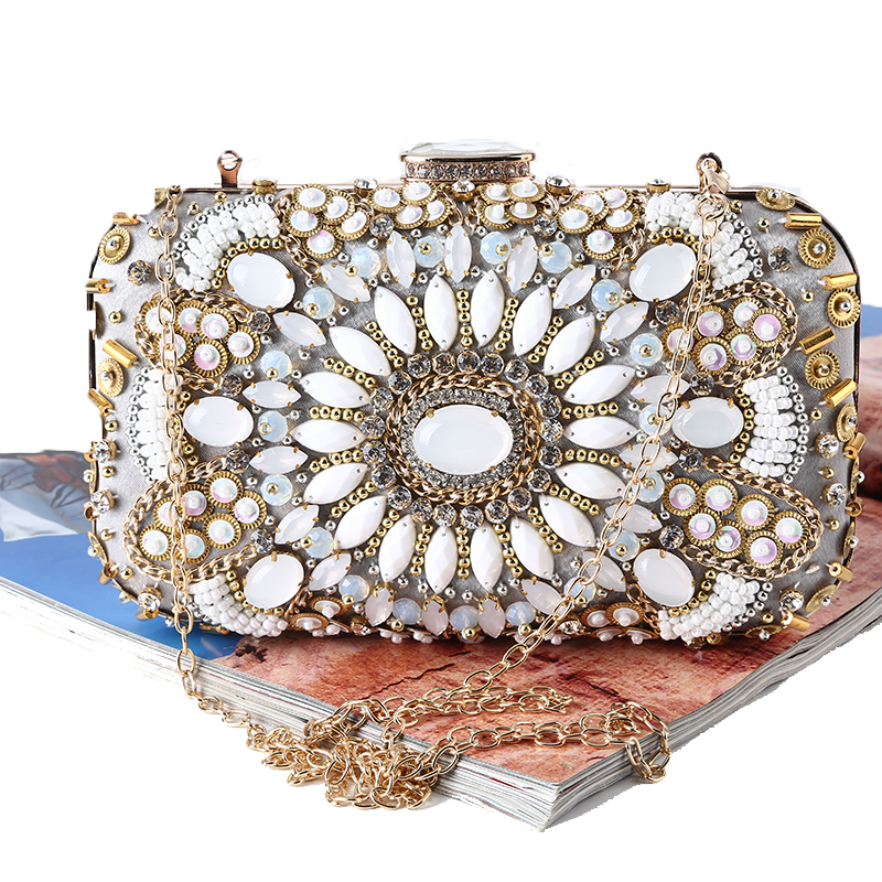 TANGSONGGUCI Diamonds Clutch Evening Bags Beaded Women Evening Bag Pearl Wedding Bridal With Chains Shoulder Bag bolsa feminina kiss lock chains evening bag