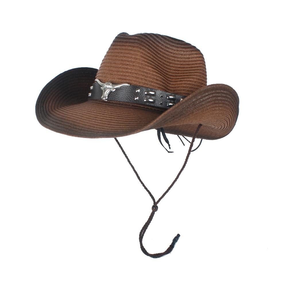 Women Men Hollow Western Cowboy Hat Lady Summer Straw Sombrero Hombre Beach Cowgirl Jazz Sun Hat Wind Rope Size 57-59CM