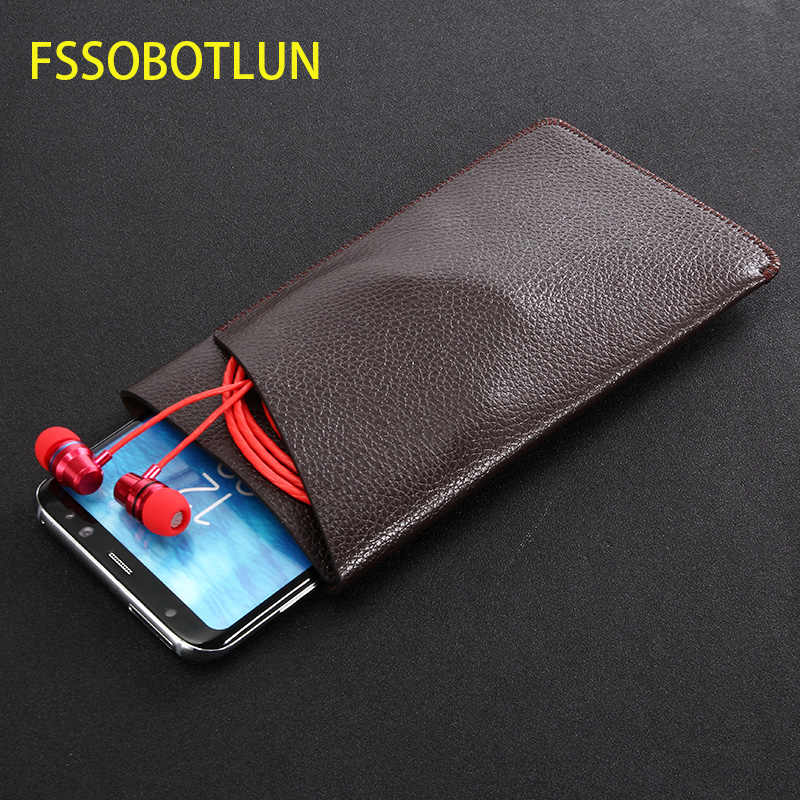 FSSOBOTLUN ، ل فون 11 برو ماكس الليتشي جلدية حالة بطاقة الأكمام كيس مزموم ل فون XR XS ماكس الحافظة اليدوية حالة وقائية