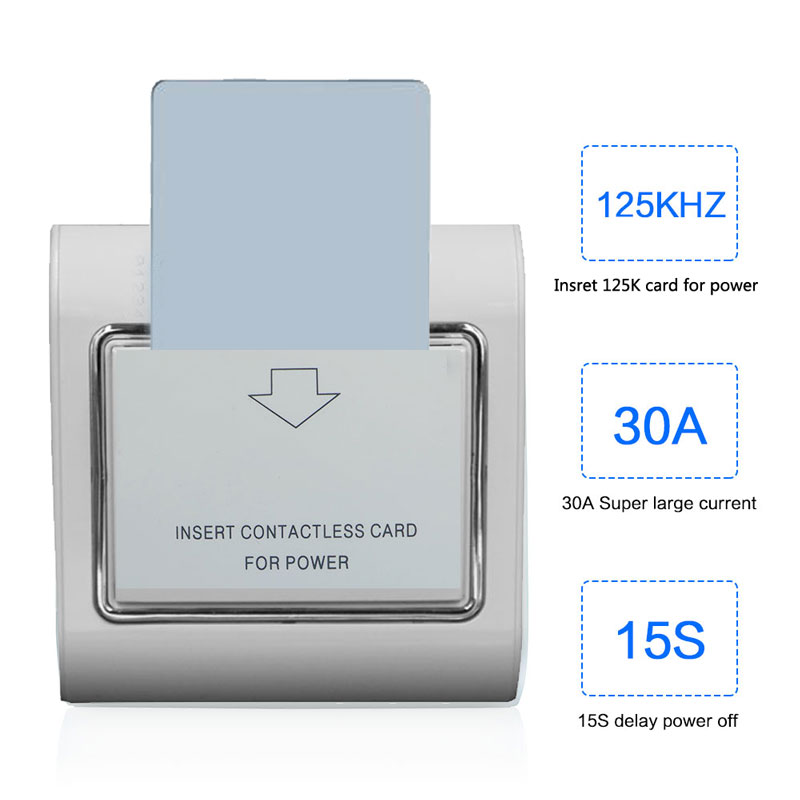 Hotel Energy Saving Switch Support ID/T57/EM4305 125K Card 220V 30A Don't Support 13.56M IC Card  Power Off With 15s Delay
