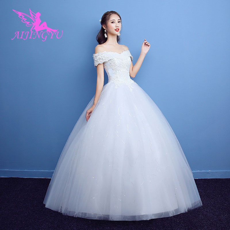 AIJINGYU 2018 communion free shipping new hot selling cheap ball gown lace up back formal bride
