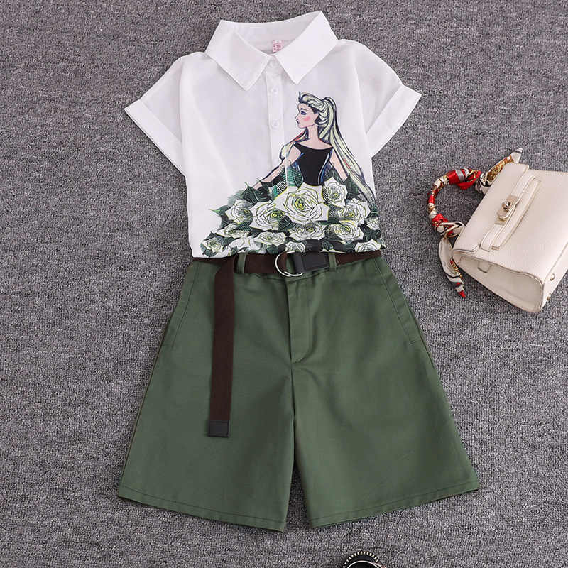 2019  summer 2 pieces suits girl print chiffon blouse shirt women tops +  shorts set Women two piece set tracksuit With Belt
