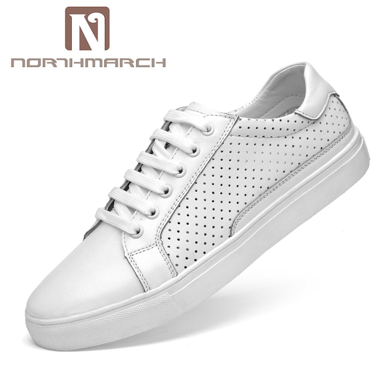 NORTHMARCH 2018 New Style Fashion Men Genuine Leather Shoes Breathable Casual Shoes Men Flat Lace-Up Shoe Men Loafers Schuhe genuine leather men casual shoes wool fur warm winter shoes for men flat lace up casual shoes men s flat with shoes fashion
