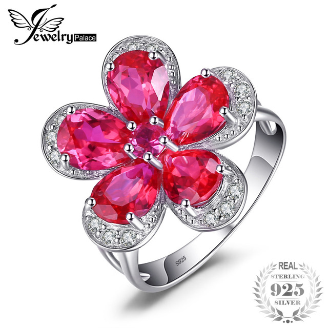 Fine Jewelry Womens Red Ruby Sterling Silver Cocktail Ring pbB23
