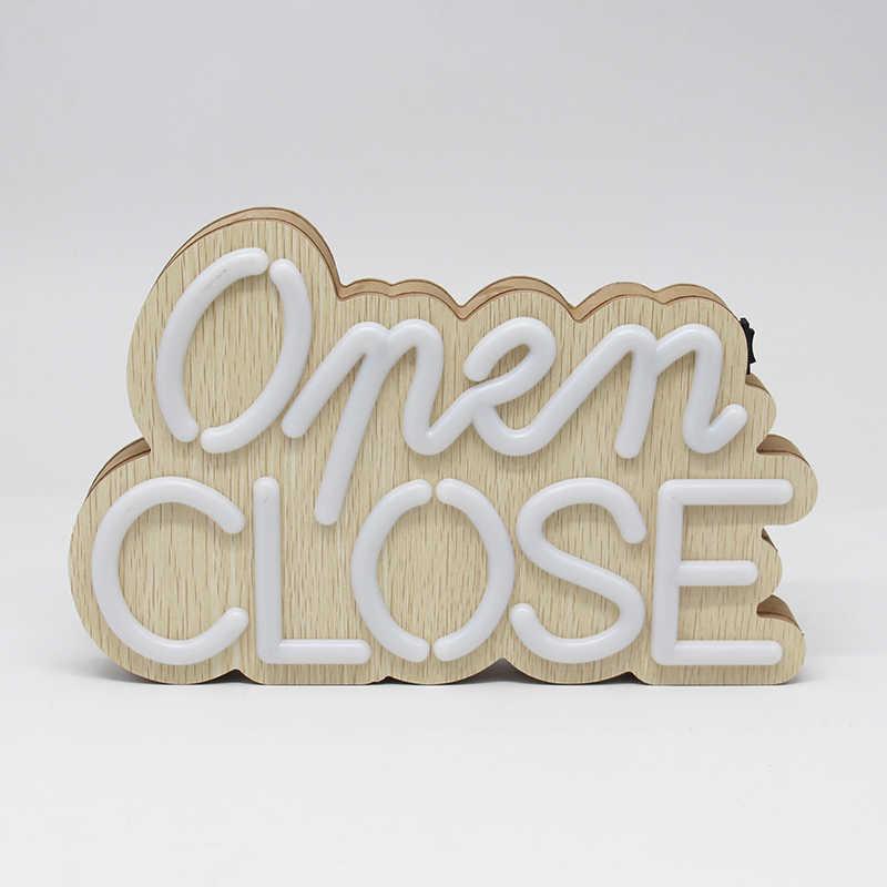 木製の装飾ライト文字クローズ/オープンランプストアドアバッテリ駆動バー装飾屋外 Led ライト Hangable