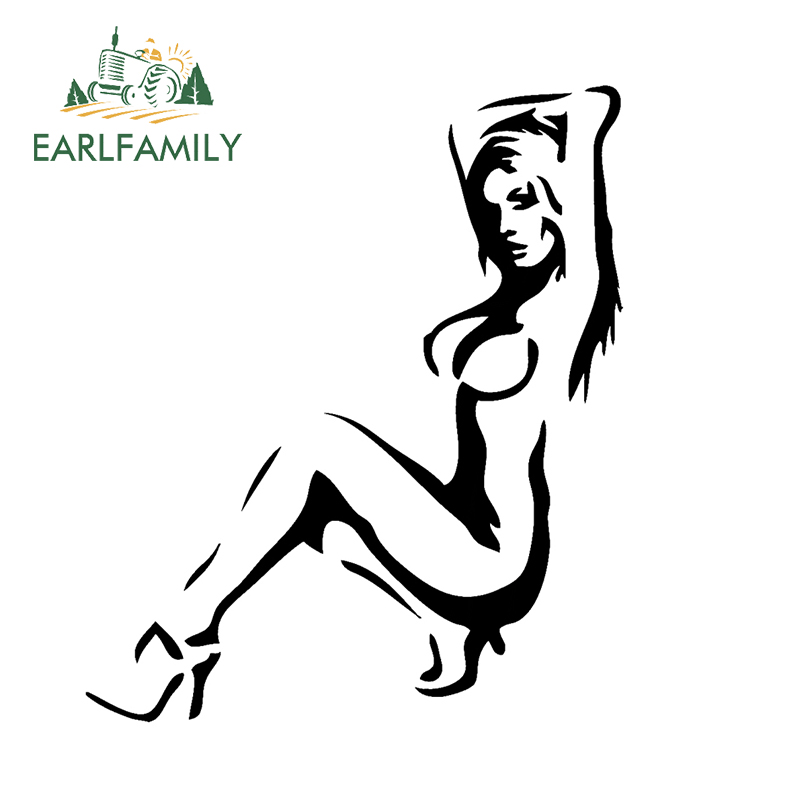 EARLFAMILY 18cm x 15cm <font><b>Sexy</b></font> <font><b>Girl</b></font> Silhouette Vinyl Decal Sticker Window Truck Muscle Car JDM Racing Euro Car Sticker Black/Silver image