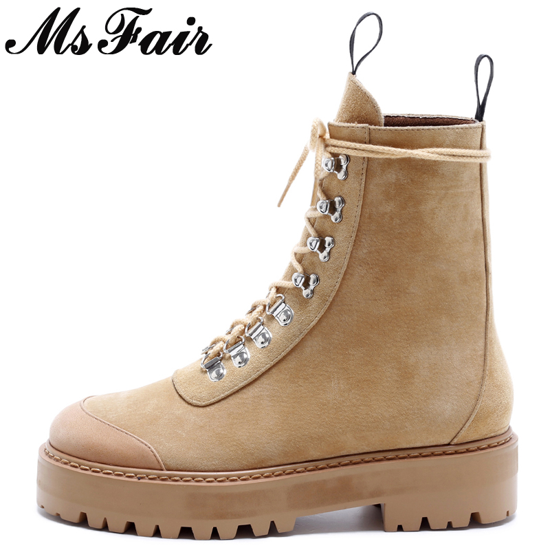 MsFair Round Toe Square heel Women Boots Metal Decoration Ladies Ankle Boot Winter Cross Tied Rivet Women's Martin Boots Shoes double barrel toddler boys s andy cowboy boot square toe