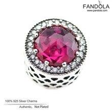 Corazón radiante cereza charms adapta pandora pulseras de plata de ley 925 cuentas de cristal para la joyería que hace diy fina