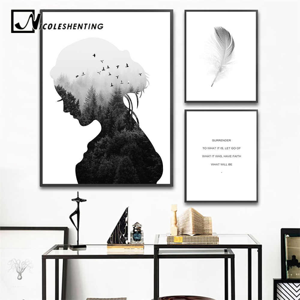 Scandinavian Wall Art Canvas Abstract Painting Girl Silhouette Feather Posters and Prints Nordic Decoration Pictures Home Decor