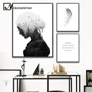 Скандинавские настенные художественные холст абстрактная живопись девушка силуэт перо плакаты и принты Скандинавское украшение картинки ...