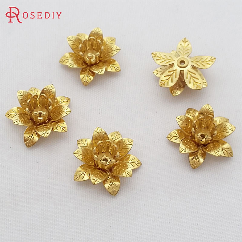 (29473)20PCS 15MM,height 6MM Not Plated Color Brass 3D Flowers Beads Caps Diy Jewelry Findings Accessories Wholesale