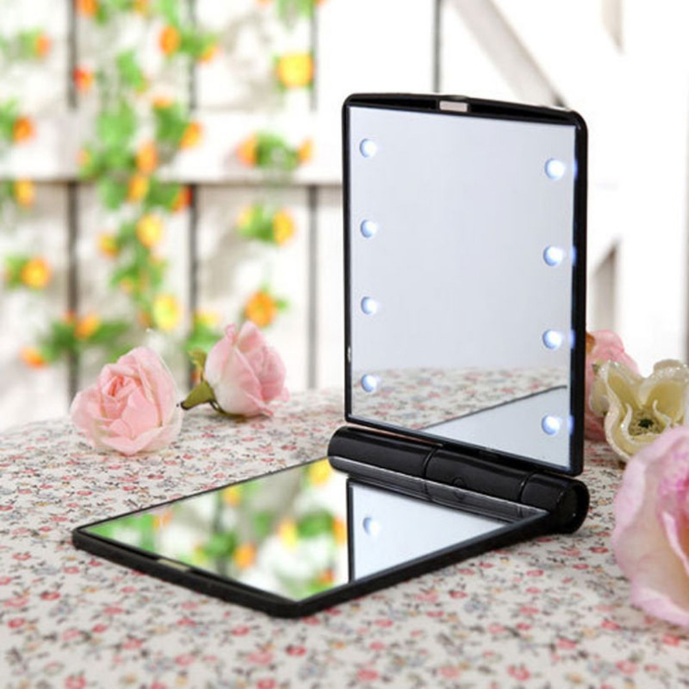Lady Cosmetic Vanity Mirror Compact Folding Portable Pocket LED Make Up Mirror Gift 8 Built-in LED Lighting Bulbs