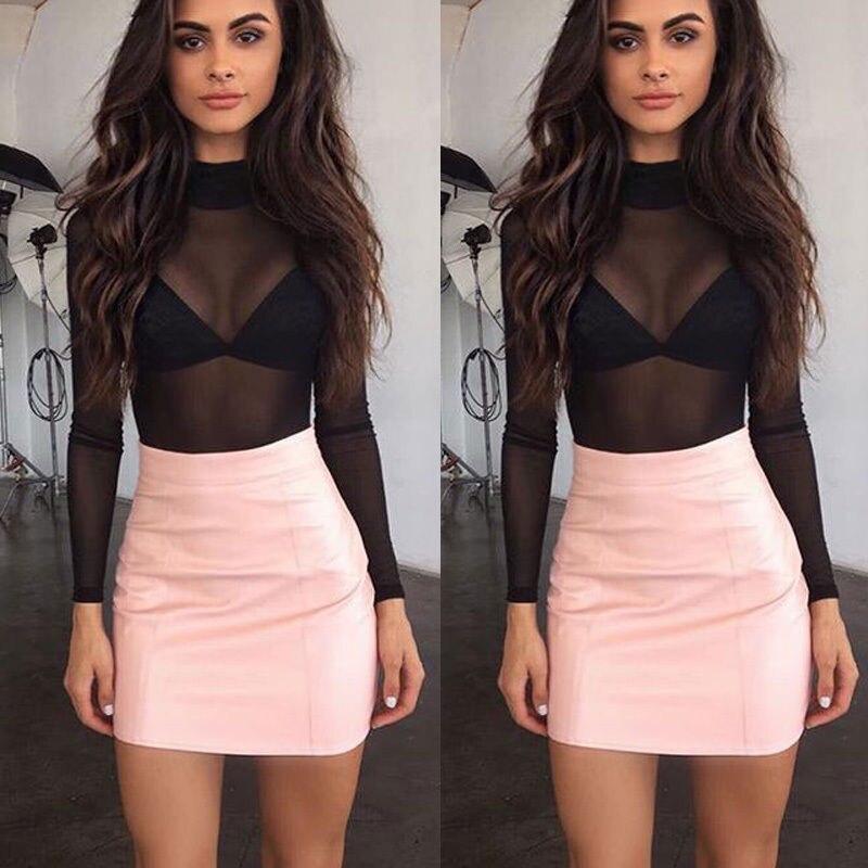 Ladies Women's Fashion Casual O Neck Long Sleeve Sheer Mesh SeeThrough Plain Top Shirt Plus 6-14
