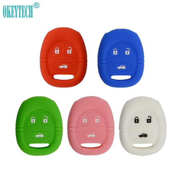OkeyTech Soft Silicone Rubber Car Key Case Cover Shell 3 Buttons for Saab 9-3 9-5 93 95 Smart Remote Key Fob Key Cover Case