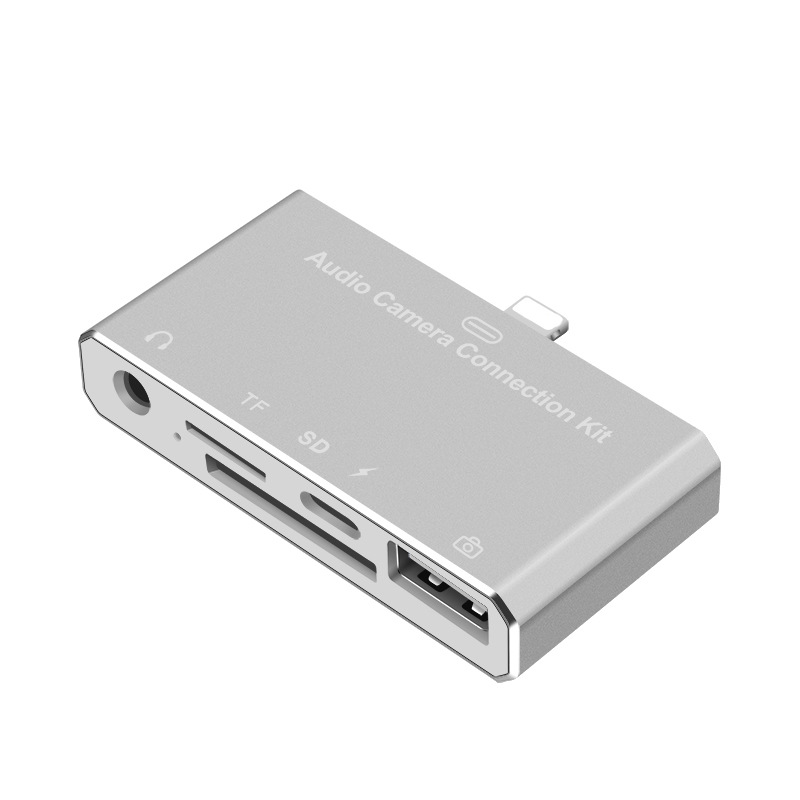 For iPhone 6 6S 7 7S Plus 8 8S Plus iPad Mini iPod Audio Camera Connection Kit OTG SD TF Card Reader Audio Adapter With Charging цена и фото