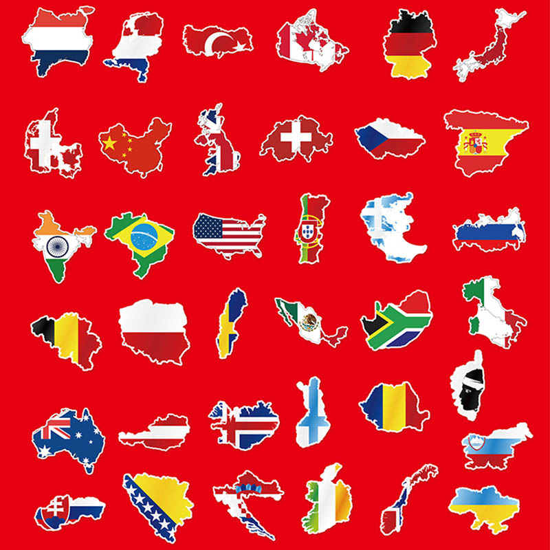 Mix 37PCS National Flags Logo Travel Stickers for Laptop Bag Handbag Toy Doodle Sticker Creative Decal Not Repeat