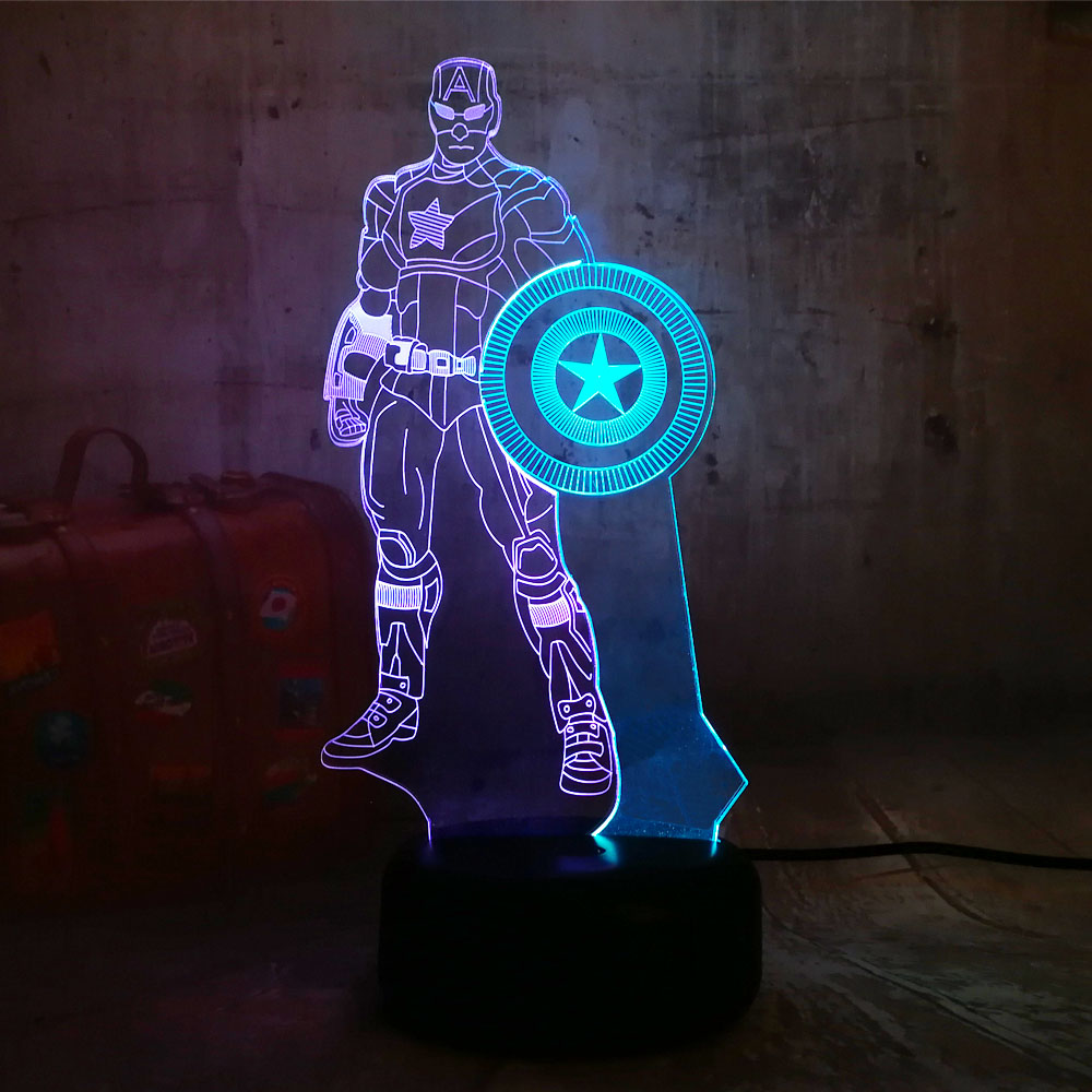 Marvel NEW Captain America 3D RGB LED Night Light Mixed Color 7 Color Sleep Table Lamp Home Decor Christmas Kids Gift Novelty