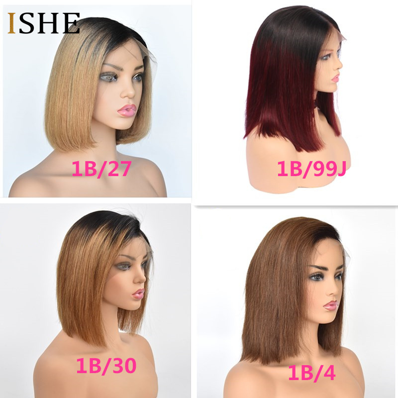 13x6 Big Lace Front Human Hair Wigs Straight Ombre Blonde Red Bob Wigs Glueless Preplucked Remy Hair Full End For Women Black