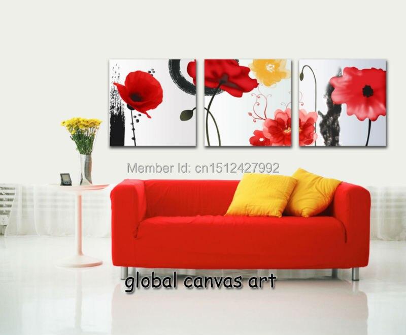 ᗗ3 panel decoración casera moderna abstracta rojo brillante flores ...