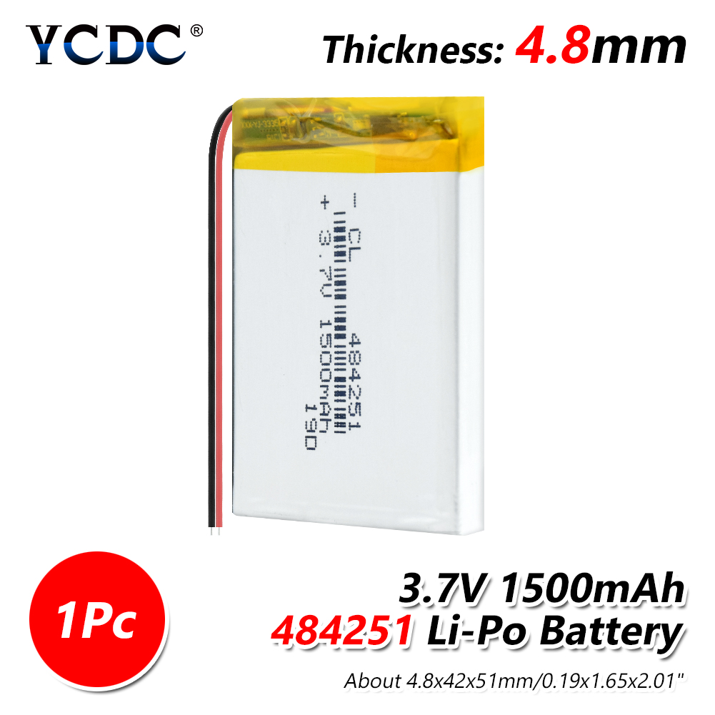 <font><b>3.7</b></font> <font><b>V</b></font> Supply lithium battery 484251 1500 mah lithium polymer Rechargeable battery For MP3 MP4 MP5 GPS PSP MID Bluetooth Headset image