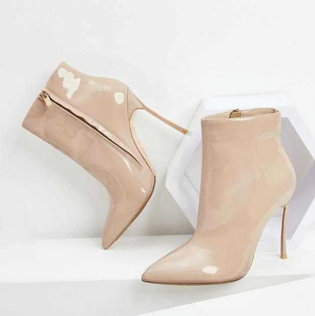 best deals on amazing quality choose best Womens Booties Shoes Beige Patent Leather Pointed Toe Ankle ...