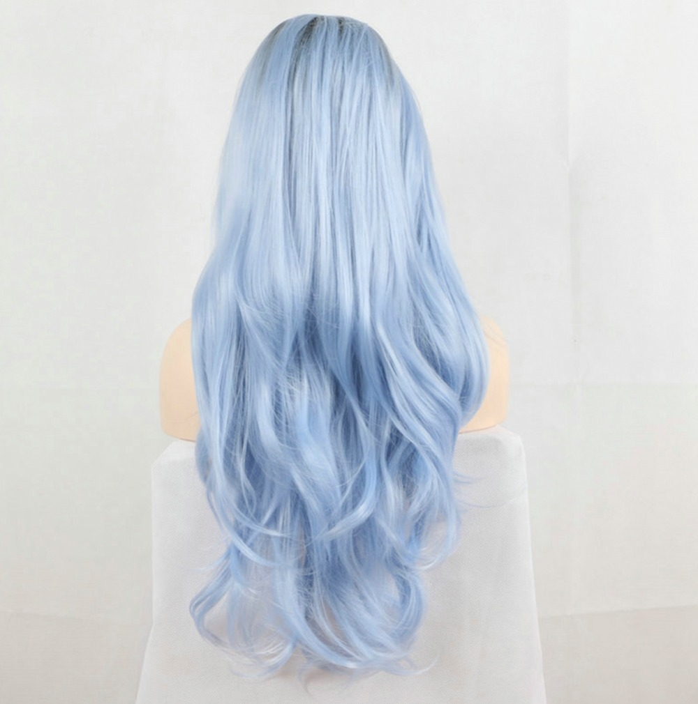Dark Root Ombre Pastel Blue Heat Resistant Fiber Hair Long Nature Wave Light Blue Synthetic Lace Front Wigs