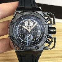 Элитный бренд новый для мужчин часы СЕКУНДОМЕР САПФИР нержавеющая сталь 904L хронограф часы розовое золото черный резиновая Спорт 45 мм AAA +