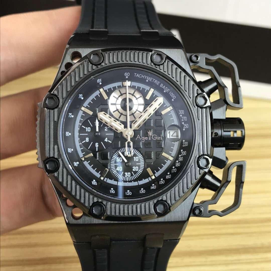 Marque de luxe nouveaux hommes montre chronomètre saphir acier inoxydable 904L chronographe montres or Rose noir caoutchouc Sport 45mm AAA +