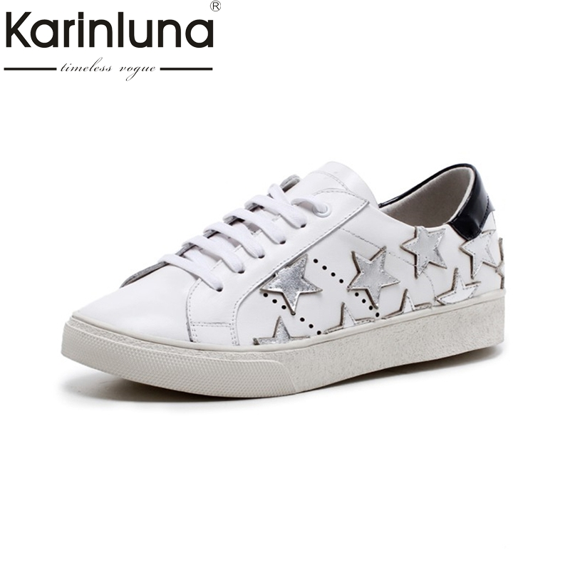 KARINLUNA cow leather Women Flats Vintage lace up Platform Shoes fashion Woman round toe Leisure Loafers Spring Shoes women ladies flats vintage pu leather loafers pointed toe silver metal design