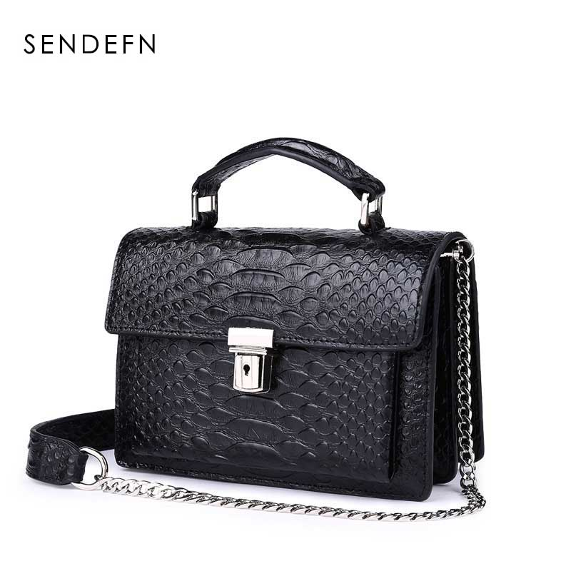 Fashion Women Messenge Bags Crocodile Pattern Split Leather Shoulder Bag Crossbody Bag Lock Chain Women Bag Clutch Female Purse