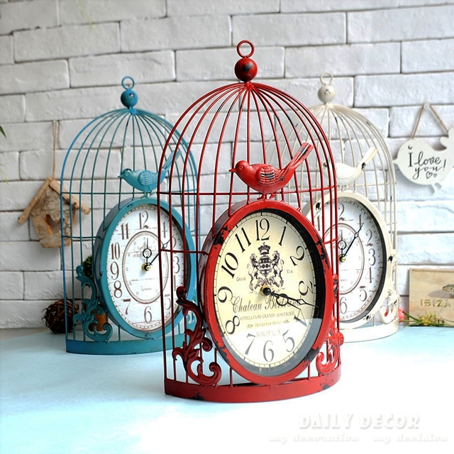 8 inch Mute vintage metal birdcage antique time wall clock relogio de parede decorative old wall mounted clock reloj de pared