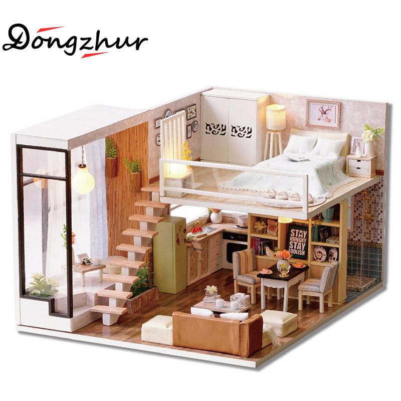 Dongzhur Wait Time Cottage 3D DIY Miniature Doll House No Glue No Tool Led Light Furniture Splice Puzzle Wooden Toy Dollhouse стикеры для стен oem 12 6big 6 3d diy no