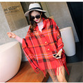 Button Tassel Pashmina Scarf Infinity Blanket Red Plaid Scarf 180 Ponchos and Capes Wraps Tippet Winter Shawls Cloak