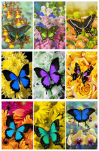 5d Diy Diamond Painting Flowers Butterfly Cross Stitch Diamond Embroidery Diamond Mosaic Paintings Home Decor Christmas Gift dazzle butterfly prints diamond paintings