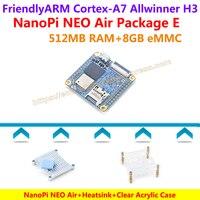 Dört çekirdekli Cortex-A7 FriendlyARM NanoPi NEO Hava (512 MB RAM) + Isı Emici + Şeffaf Kılıf = NanoPi NEO Hava Paketi E (WIFI & Bluetooth, 8 GB eMMC)