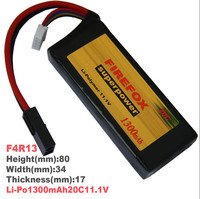 1pcs 100% Orginal Firefox 11.1V 1300mah 20C Lipo Lithium Mini RC Battery F4R13 Drop shipping