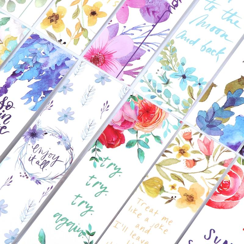 Kesheng 40pcs Vintage Flower Bookmarks Gift Tag Blank Word Message Card Office School Supplies Women Kids