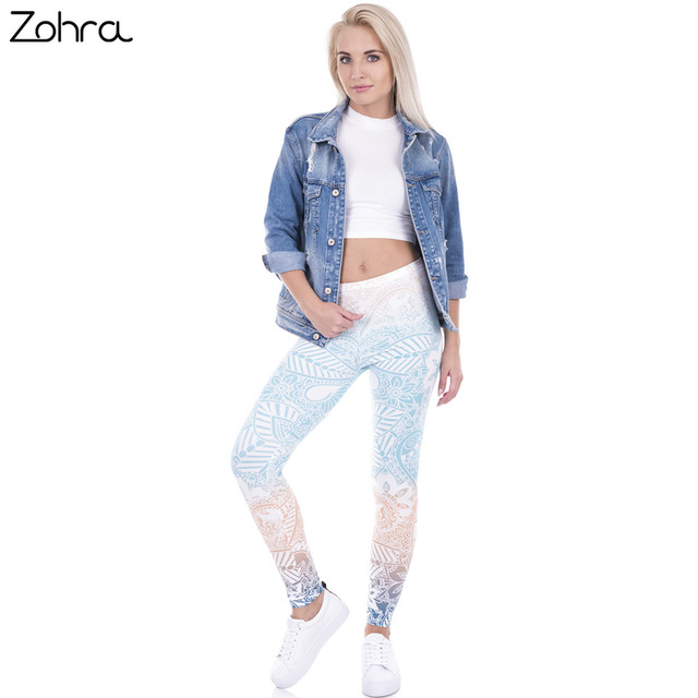 Hot Sales Leggings Mandala Mint Print Fitness legging High Elasticity