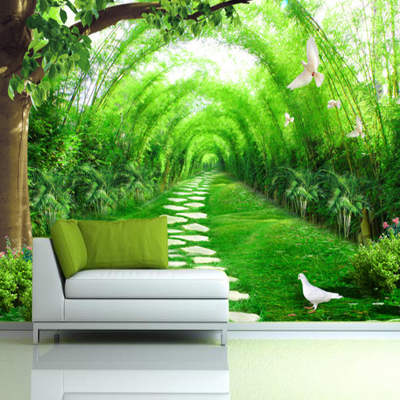 Custom photo 3D Mural Wallpaper Fresh bamboo forest road 3D Wall Decorations Living Room Bed Room TV Backdrop Photo Wallpaper yellow sunflower wallpaper mural painting living room bedroom 3d wallpaper tv backdrop 3d wallpaper photo wallpapers