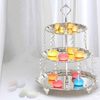 3 tier cake stand with crystal dangle silver Cake tray stand Cake tray wedding
