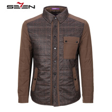 Seven7 2017 Winter Parka Men Cotton Mens Jacket Coat Casual Fashion Thick Outerwear Fashion Grid Stitching Jacket 807K21010
