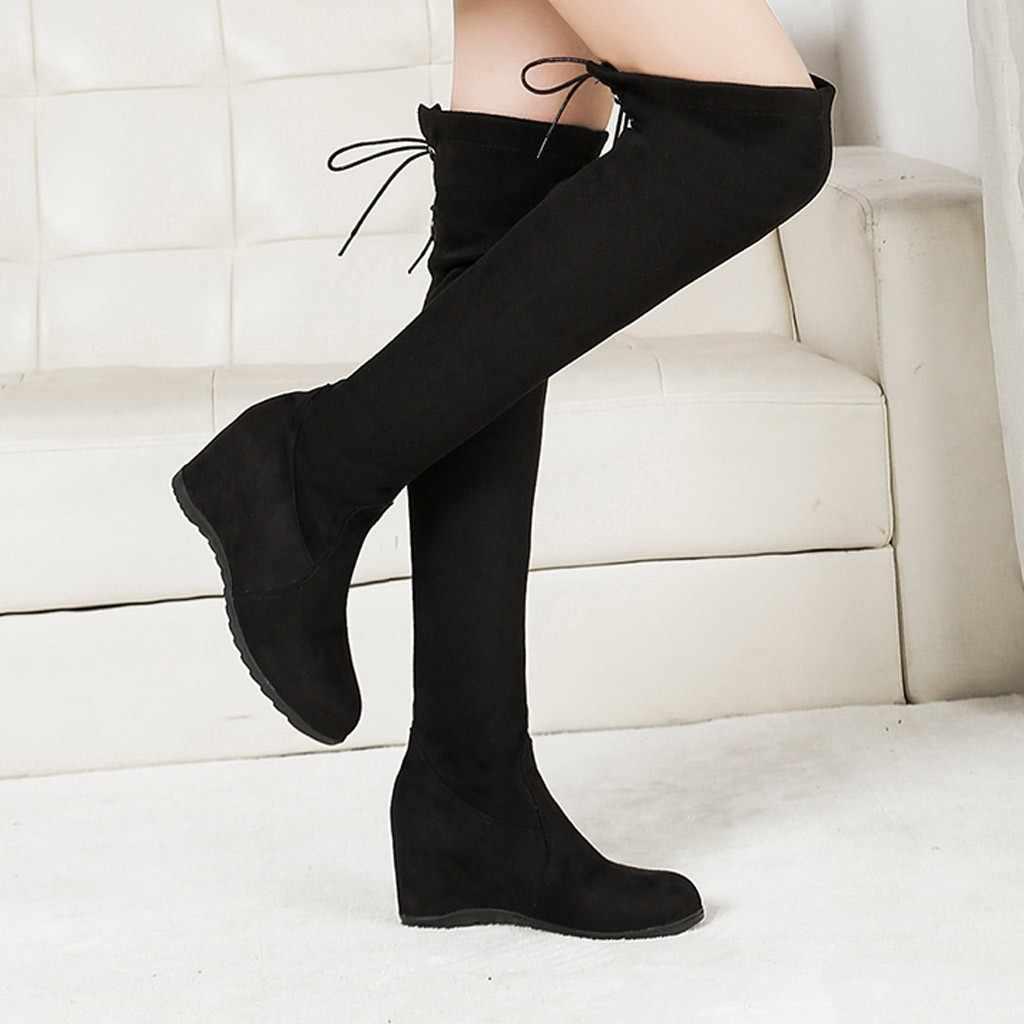 Kadın botları moda diz çizmeler bayan artan elastik streç platform ayakkabılar çizme kadın rahat ayakkabılar M50 #