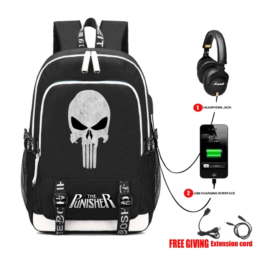 USB Charge Headphone Jack men women Shoulder travel student School Bag teenagers Casual Laptop Bags The Punisher Skull backpack zelda laptop backpack bags cosplay link hyrule anime casual backpack teenagers men women s student school bags travel bag