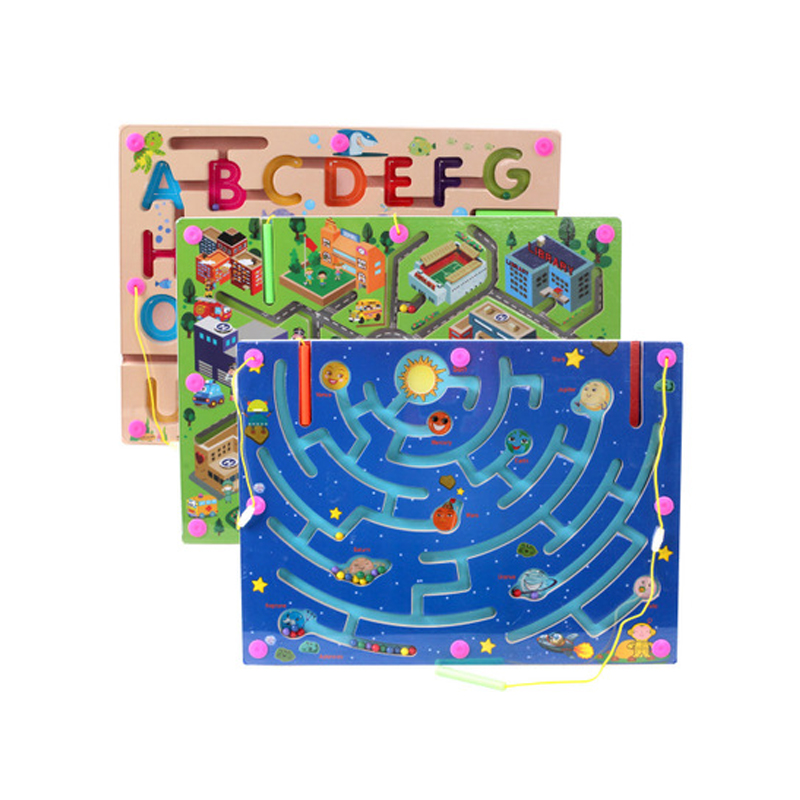 1 Pc Magnetic Maze Walking Beads Early Education Toys Urban Traffic, Letters, Planets Parenting Family Puzzles Game Toys Moderate Price