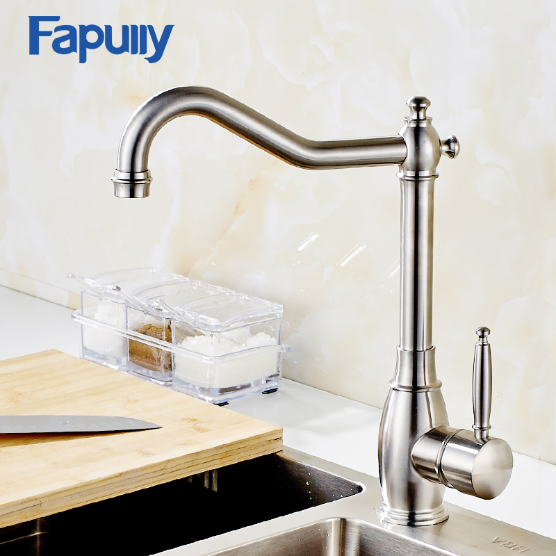 Fapully Kitchen Faucet Mixer Taps 304 Stainless Steel Cold Hot Single Hole Mixer Taps for Kitchen Sinks Torneira Cozinha kemaidi solid brass kitchen mixer taps hot and cold kitchen tap single hole water tap kitchen faucet torneira cozinha