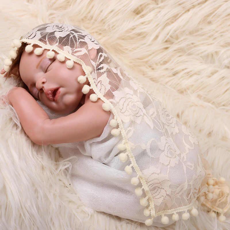 Одеяло для фото новорожденных обертывание с кисточкой Детские фото обертывание s кружево Роза пеленание ребенка подставка для фотографий 45*45 см серый розовый
