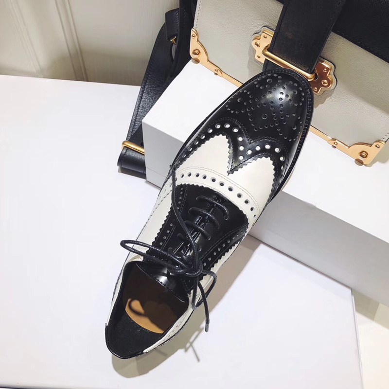 Mixed Color Womens Winged Oxford Lace Up Striped Platform Metallic Fashion Vintage Platform Bullock Flat Female Shoes Woman 40 - 3