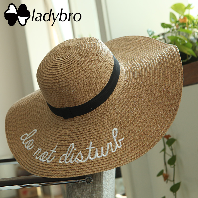 Ladybro المرأة أحد قبعة الصيف شاطئ سترو قبعة الإناث لا تزعج سمبريرو الشمس قناع واسعة حافة قبعة سيدة طوي الفاتحة فام