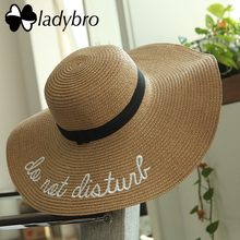 Ladybro Women Sun Hat Summer Beach Straw Hat Female Do Not Disturb Sombrero Sun Visor Wide Brim Hat Lady Foldable Chapeau Femme