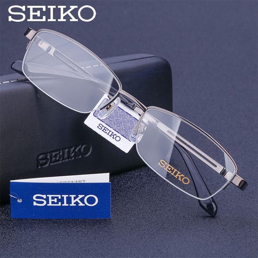 SEIKO monture de lunettes pour hommes titane myope montures de lunettes Semi sans monture homme dioptrique lunettes pour les yeux